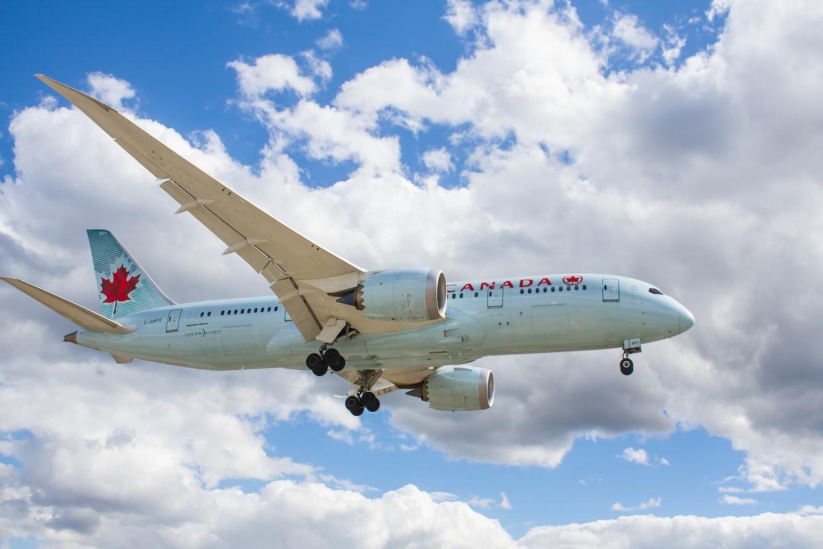 空を飛ぶエアカナダの飛行機