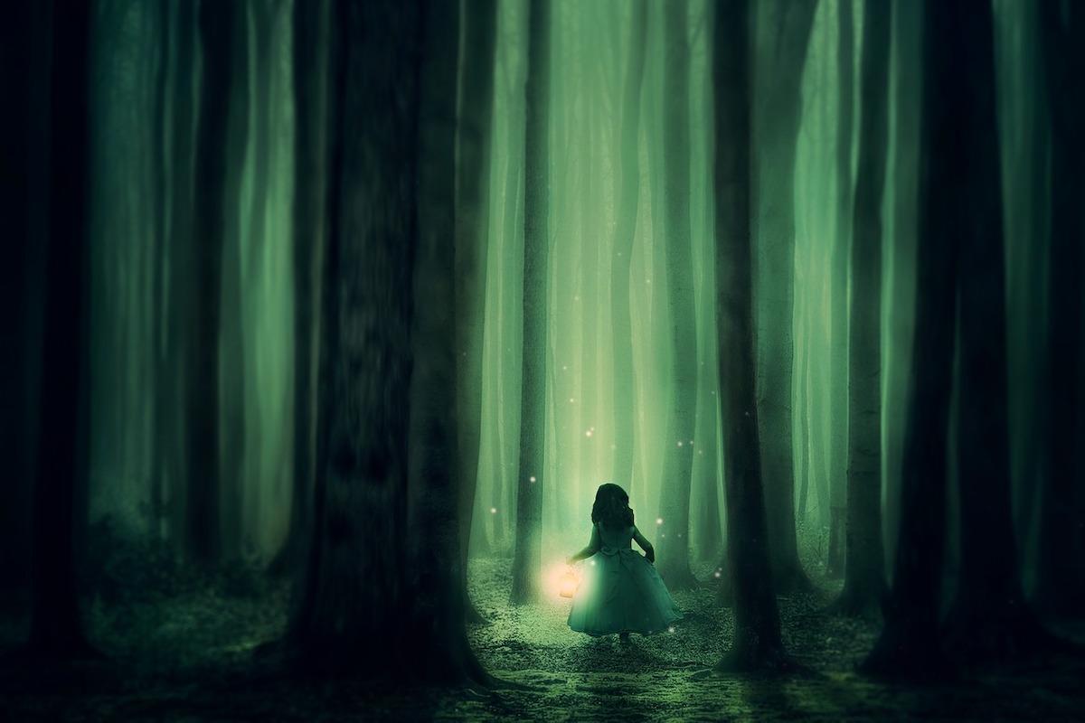 森の中で迷う少女