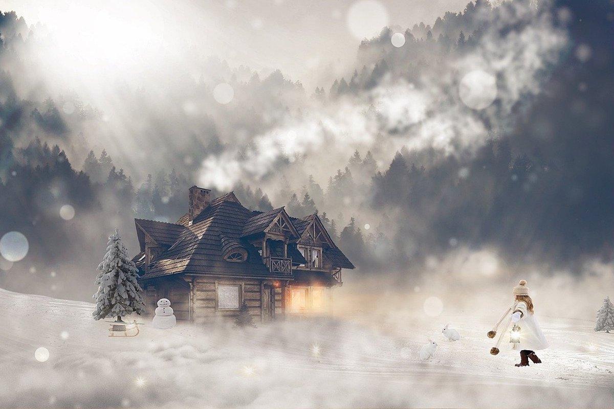 雪の中家に向かって歩く少女